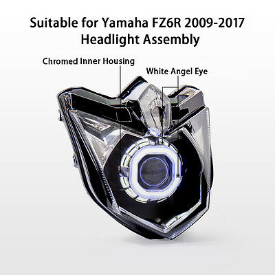 KT LED Angel Halo Eyes Projector Headlight Assembly for Yamaha FZ6R  2009-2017