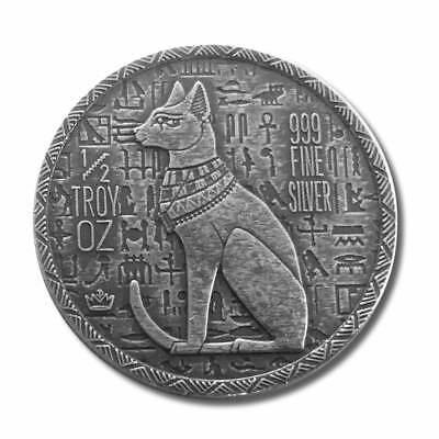 1 - 1/2 oz .999 Silver Round - Old World Style Egyptian God Cat - Bastet - NEW 2