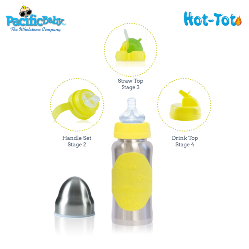 Hot-Tot Stainless Steel Insulated Infant Baby 7 oz Eco Feeding Bottle Silver Yel 2