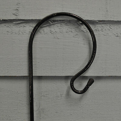 with 17cm Support Stand Selections 5 x Shepherds Crook Black Metal Garden Border Hook 1m