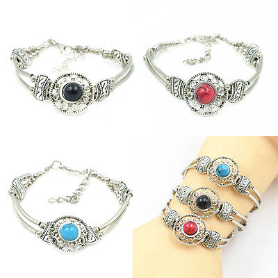 Adjust Bracelet  Woman Fashion Jewelry Tibetan Silver Pld Turquoise Bead Bangle 2
