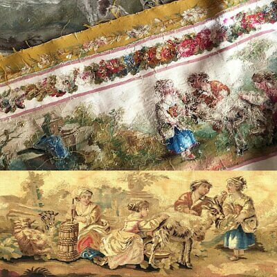 """RARE 55.5"""" Long Antique French Aubusson Tapestry Fragment, Sofa Panel, Figural 7"""