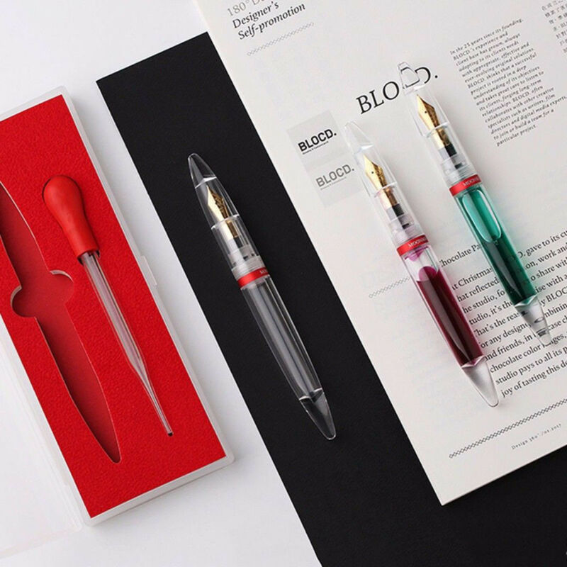 Moonman M2 Transparent  Fountain Sheet Metal Pen Extra Fine Nib for Birthday Gif 3