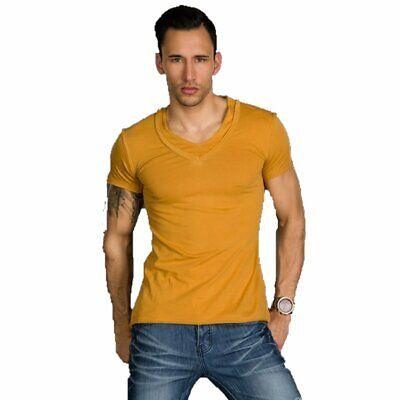 T-shirt Maglietta uomo collo a V manica corta maniche corte slim cotone xl xxl 6