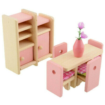 Kid Pink Wooden Furniture Dolls House Miniature 6 Room Set Doll For Gift DIY AR 5