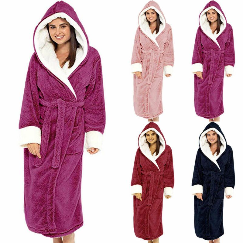 Women Dressing Gown Hoodie Nightwear Fluffy Soft Warm Winter Hooded Bath Robe 3