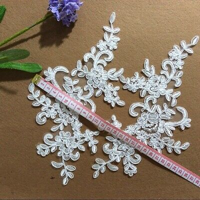 1Pair Embroidered Flower Lace Applique Motif Trim Wedding Dress Sew Crafts DIY 1 3