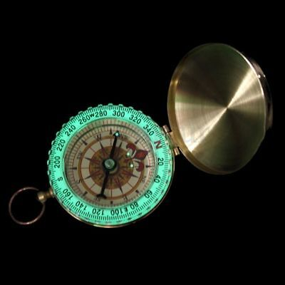 Vintage Brass Noctilucent Pocket Compass Hiking Camping Watch Style Retro ONE 3