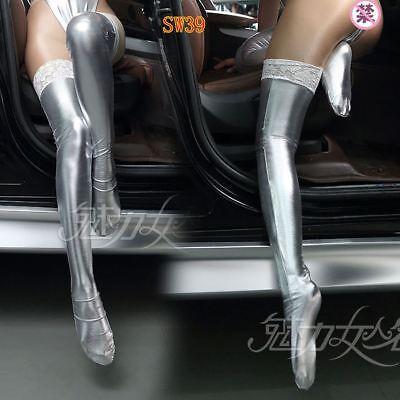 8254b69bbfd30 ... Women PU Leather Legging Stockings Wet look Club wear Thigh High Sock 5