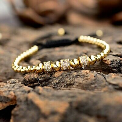 Luxury Jewelry Women Men's Micro Pave CZ Crown Braided Adjustable Bracelets Gift 9