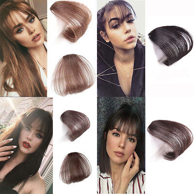Thin Neat Air Bangs Remy Human Hair Extensions Clip in on Fringe Front Hairpiece 7