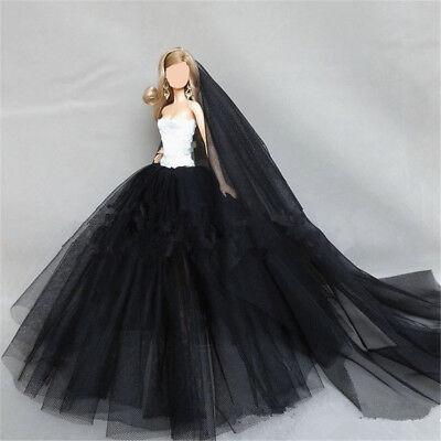 Handmade Royalty Princess Dress/Wedding Clothes/Gown + veil for Barbie Doll 6