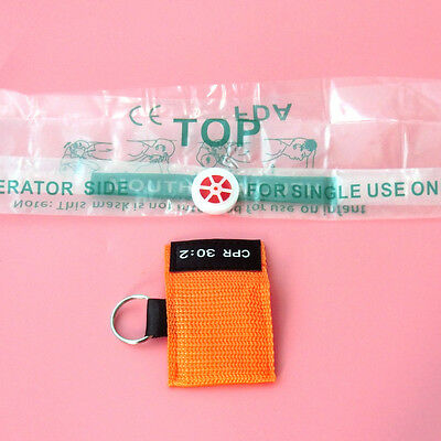 100 CPR MASK KEYCHAIN CPR FACE SHIELD POCKET AED TRAINING  CPR 30:2 Disposable 6
