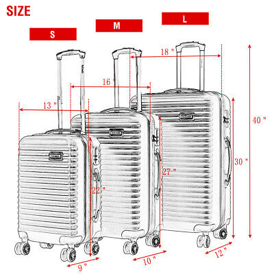 BHC 3PCS Luggage Bag Carry On Set Trolley Suitcase ABS+PC w/Cover Travel Spinner 3