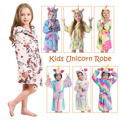 Kids Girls Boys Unicorn Dressing Gown Hooded Bath Robe Animal Print Night Wear 2