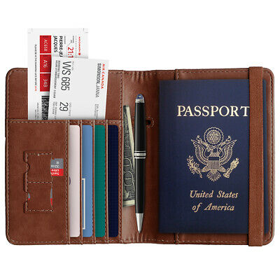 Slim Leather Travel Passport Wallet Holder RFID Blocking ID Card Case Cover US 8