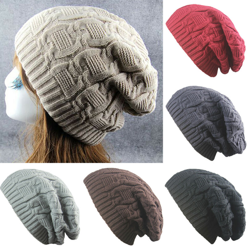 Womens Mens Winter Knitted Oversized Slouch Beanie Hat Skateboard Thermal Cap UK