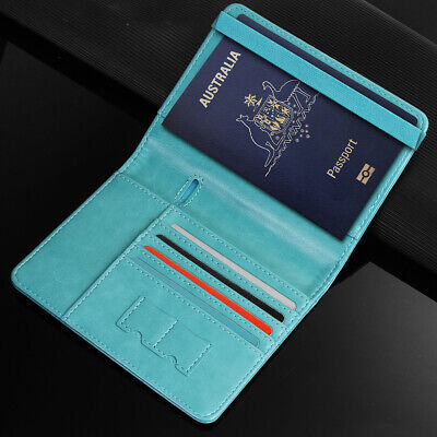 Travel Passport ID Card Wallet Holder Cover RFID Blocking Leather Purse Case AU 9