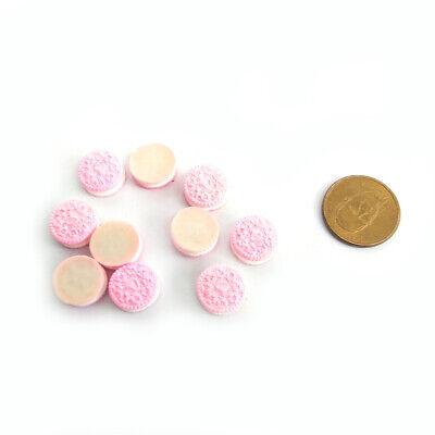 10Pcs Miniature Resin Medium Oreo Sandwich Biscuit Dollhouse Accessory Pink 3