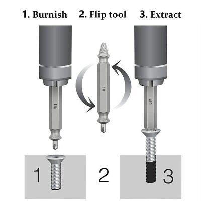 4Pcs Screw Extractor Kit Guide Broken Damaged Bolt Remover Drill Bits hot