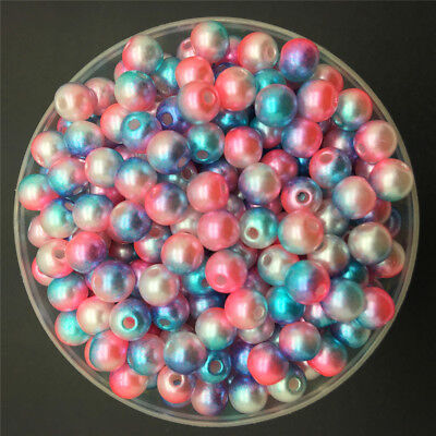 4/6/8mm Colorful Acrylic Round Pearl Spacer Loose Beads DIY Jewelry Making-WI 8