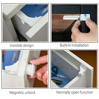 ❤ 10PCS Magnetic Cabinet Drawer Cupboard Locks Baby Kids Child Safety 2