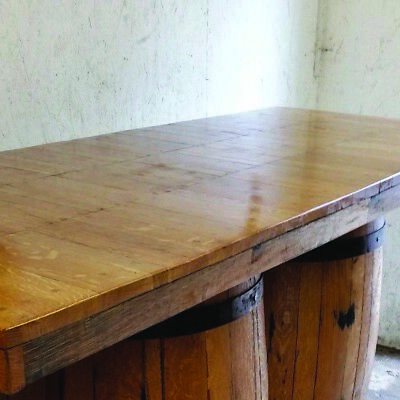 Recycled Solid Wooden Oak Double Whiskey Cask Bar Table Patio Table 3