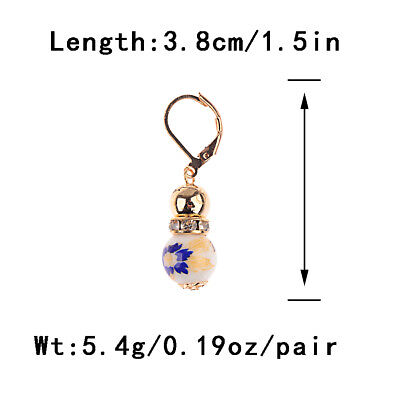 2 Beads Colored Enamel Gemstone Earrings Bohemian Handmade Fashion Earrings Gift 11