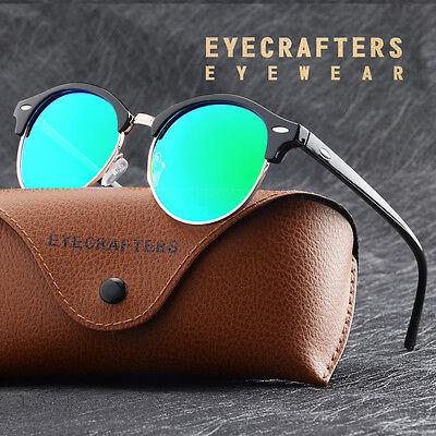 Fashion Vintage UV400 Outdoor Shades Women Mens Retro Round Polarized Sunglasses 6
