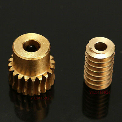 0.5 Modulus 1:10 Reduction Ratio 20Tooth Gear Motor Brass Copper Worm Wheel Gear 3