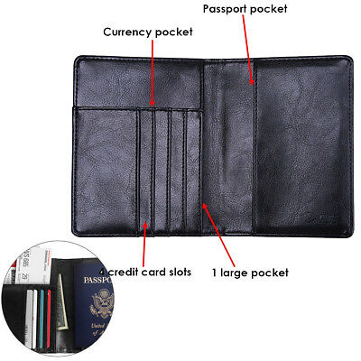 Premium Leather RFID Blocking Passport Travel Wallet Holder ID Cards Cover Case 2