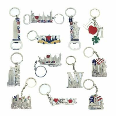 12 Pack New York City Silver Metal Keychains NYC  KeyRing Souvenir  Gift Set 7