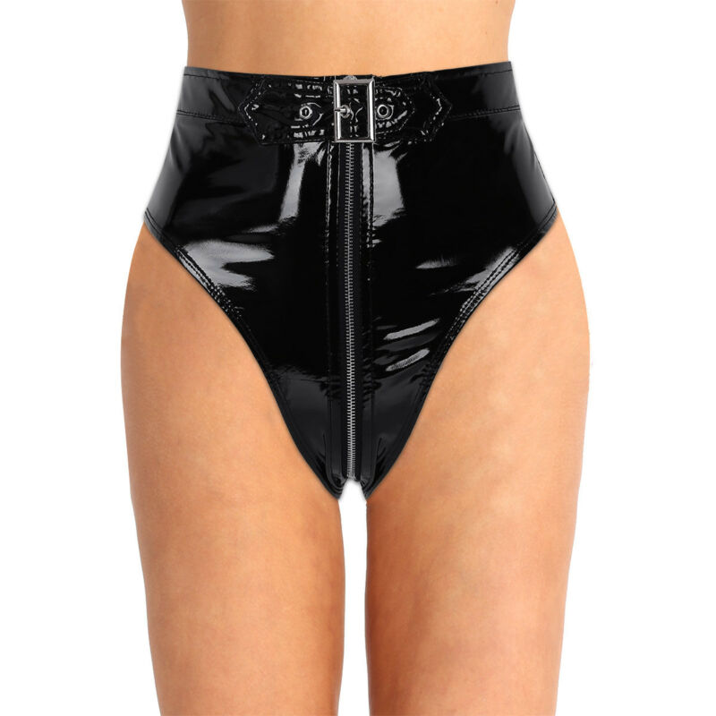 Damen Leder-Optik Hotpants High Waist Ouvertslip Panties Unterwäsche Clubwear 3