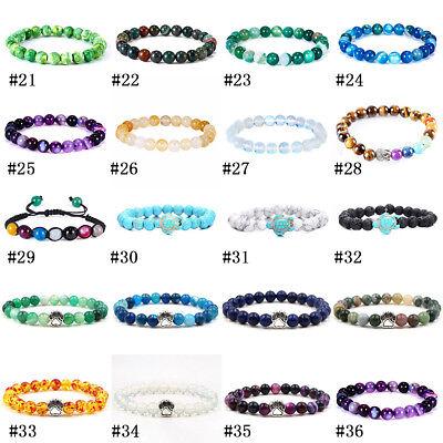 Natural Stone Bead Bracelet Men Women Tiger Eye Turquoise Bangle Jewelry Gift 6