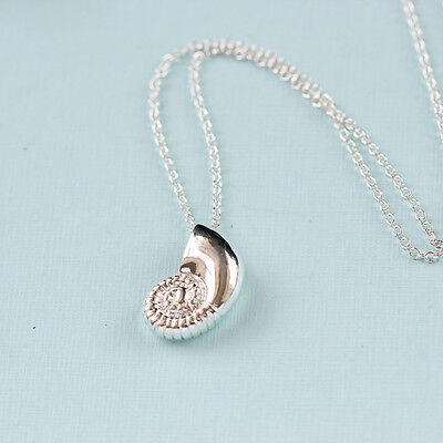 Gold Silver Plated Conch Fossil Ammonite Shell Necklace Pendant Nautical 6
