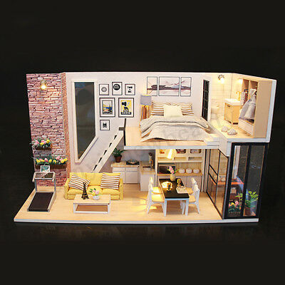 DIY LED Wooden Dollhouse Miniature Wooden Furniture Kit Doll House Kid's Toy AU 8