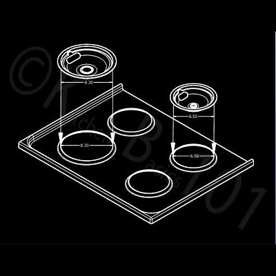 Replacement for Whirlpool Stove Drip Pans, Black W10288051 Two 6-Inch,Two 8-Inch 7