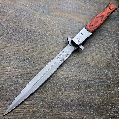 "TAC FORCE 13"" Extra Large HARDWOOD Spring Assisted Open STILETTO Pocket Knife 6"