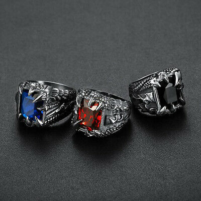 Vintage Mens Stainless Steel Punk Gothic Biker Band Rings Jewelry Size 8-15 2