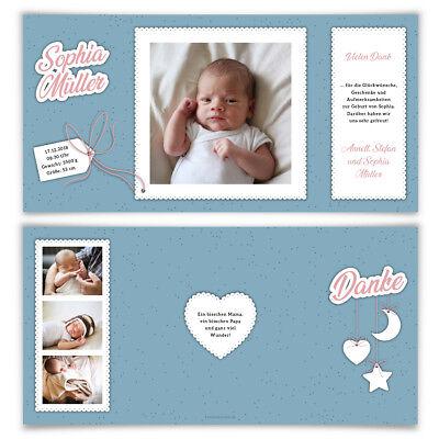Babykarten.Geburtskarten Babykarten Dankeskarten Geburt Madchen Junge Sonne Mond Und Sterne