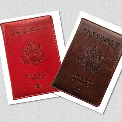 Travel Leather Passport Organizer Holder Card Case Protector Cover Wallet US 4