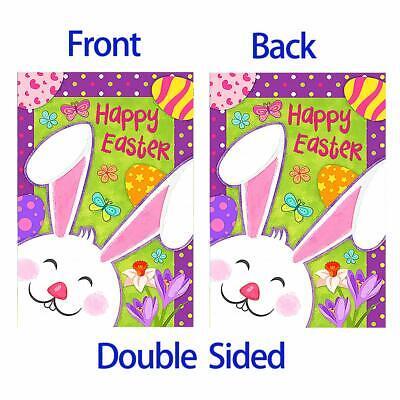 Morigins Happy Easter Smile Bunny Decor Colorful Flower Double Sided Garden Flag