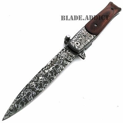 "8"" TAC FORCE Italian Milano Stiletto Damascus Spring Assisted Open Pocket Knife 2"
