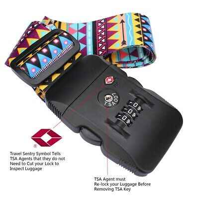 2m TSA 3Digit Customs Password Lock Luggage Belt Adjustable Travel Luggage Strap 6