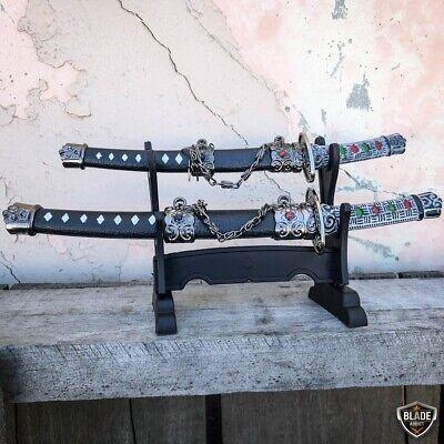 2PC Japanese Samurai Sword Fixed Blade Letter Opener Katana Knife w Stand NEW 2