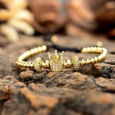 Luxury Jewelry Women Men's Micro Pave CZ Crown Braided Adjustable Bracelets Gift 3