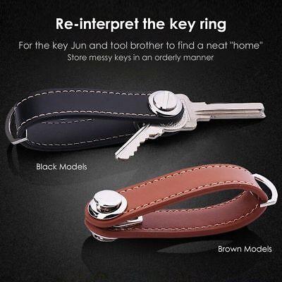Genuine Leather Key Wallet Holder Organizer Folder Clip Car Keyring Key Chain AU 3