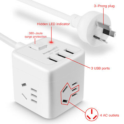 AU Cube Power Board Strip 3 USB+4 Socket Outlets Extension Cord Charger Charging 5