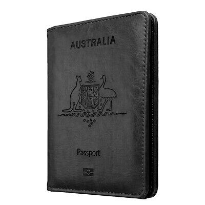 Slim Leather Travel Passport Wallet Holder RFID Blocking ID Card Case Cover AU 8