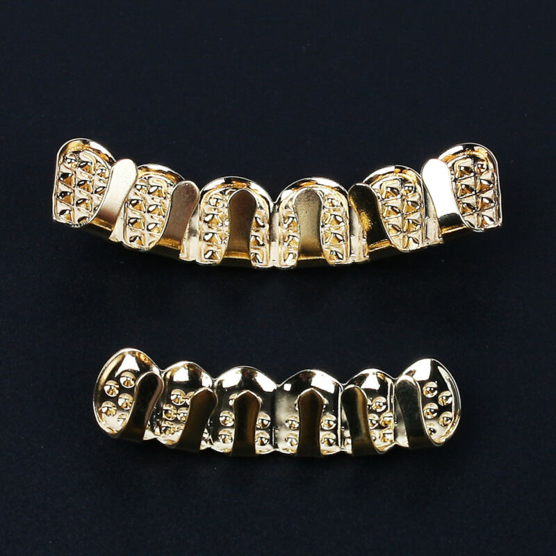 Gold Plated Rhinestone Diamond Tooth Grillz Teeth Cap Grill Hip Hop Party AU 6